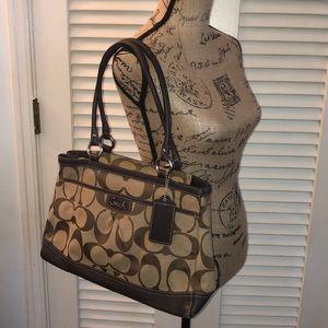 Coach tan/brown Jacquard Shoulder Bag